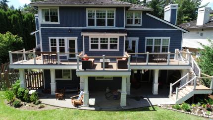 Custom-Decks-AZEK-paver-boardwalk-waterwheel-timbertech-decking-wheathered-teak-grey-slate-bellevue-washington