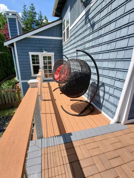Custom-Decks-AZEK-paver-boardwalk-waterwheel-timbertech-decking-wheathered-teak-grey-slate-post-cap-lights-coffee-bar-bellevue-washington