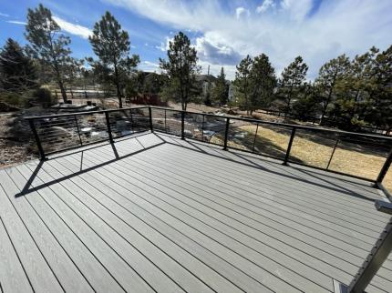 Custom-Decks-timbertech-silver-maple-deck-feeney-cable-rail-castle-pines-colorado