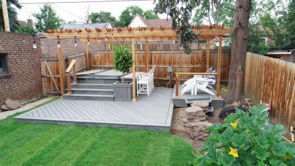 Custom-Decks-trex-deck-island-mist-custom-planter-pergola-swim-up-bar-hot-tub-denver-colorado