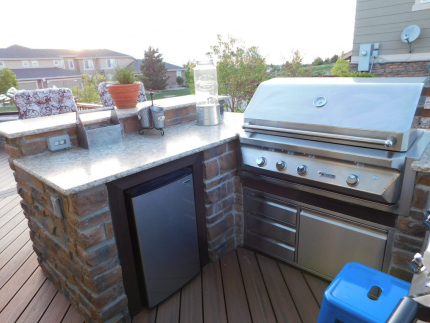 Custom-Decks-U-Shaped-kitchen-grill-two-side-burners-Jack-Daniels-smoker-fridge-Aurora-Colorado