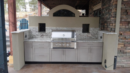 Custom-Decks-custom-kitchen-stucco-with-trex-cabinets-cutouts-for-seasoning-refrigirated-drawer-Parker-Colorado
