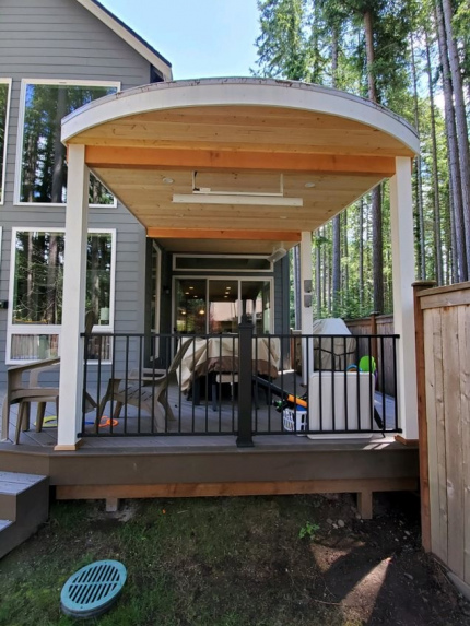 Custom-Decks-custom-patio-cover-white-posts-cedar-tongue-and-groove-two-heaters-four-can-lights-Bellevue-Washington