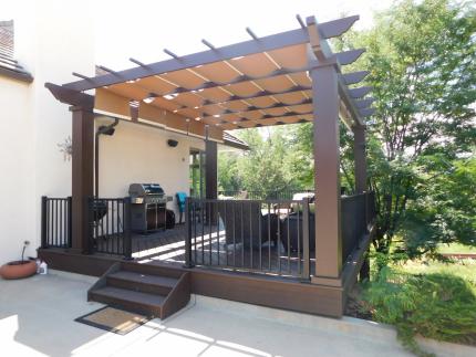 Custom-Decks-Trex-Pergola-8x8-sunshades-vintage-lantern-posts-Cherry-Hills-Colorado