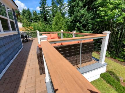 Custom-Decks-ASD-cable-rail-timbertech-cocktail-cap-white-trex-posts-Bellevue-Washington