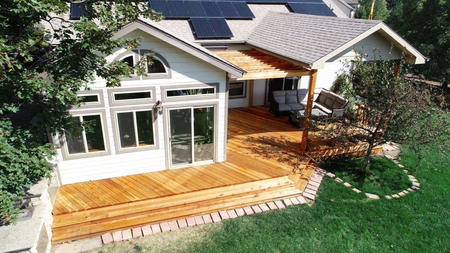 Custom Decks Redwood Deck Patio Cover Pergola Benches Golden Colorado