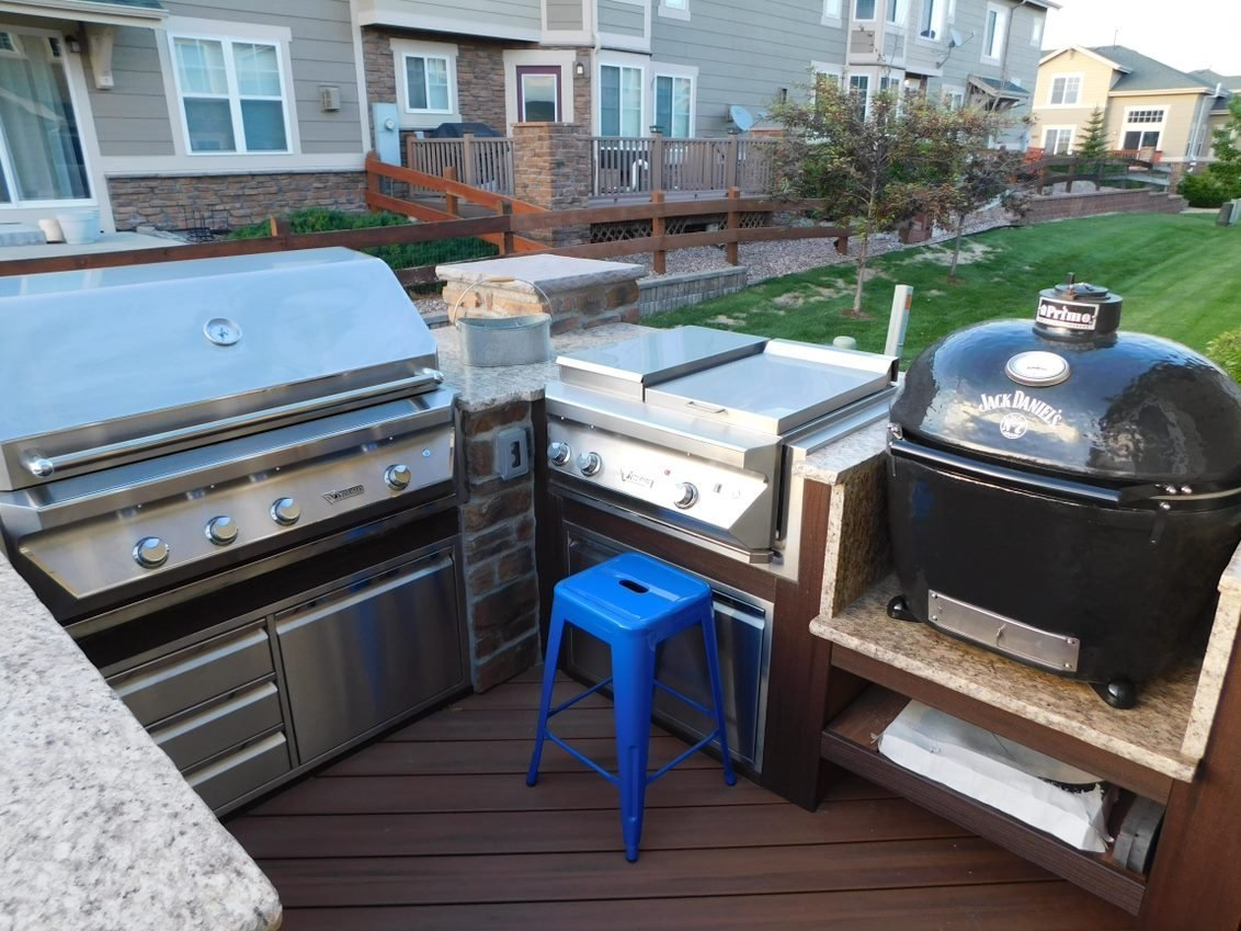 Custom Decks U Shaped Kitchen Grill Two Side Burners Jack Daniels Smoker Fridge Open Counter Space Aurora Colorado