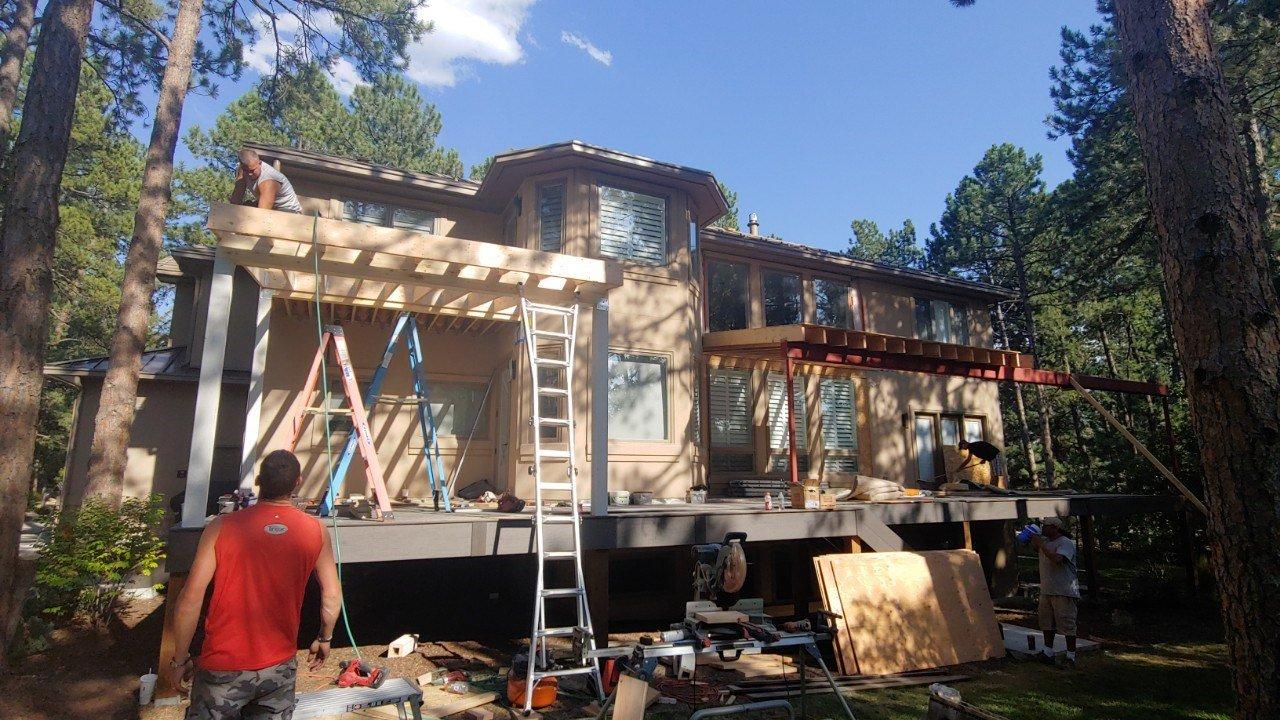 Custom Decks Large Deck Steel Beam 2 Patio Covers 39' Span Castle Pines Colorado